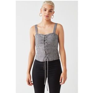 Silence + Noise Lace -Up Corset Top